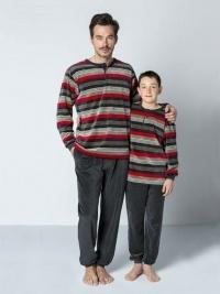 Pijama Guasch Terciopelo Rayas con Puños