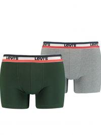 Pack 2 Boxers Levi´s lisos en verde y gris