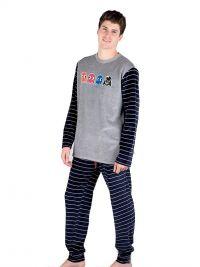 Pijama Pettrus Man en Terciopelo con Fantasmas y puños