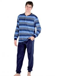 Pijama Pettrus Man en Terciopelo a rayas azul con puños
