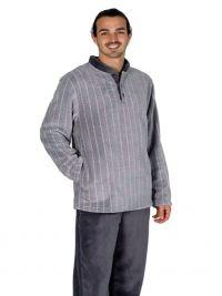 Pijama Pettrus Man Térmico Polar a rayas en Gris