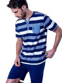 Pijama Admas Hombre a rayas azul