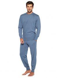 Pijama Punto Blanco Organix de Algodón en azul jaspeado con puños