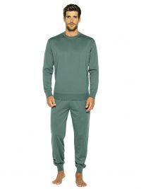Pijama Punto Blanco Organix de Algodón en verde con puños
