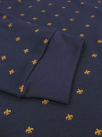 Pijama Alpina en azul marino con florecitas y puños elásticos