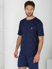 Pijama Massana de verano con cuello redondo en azul marino