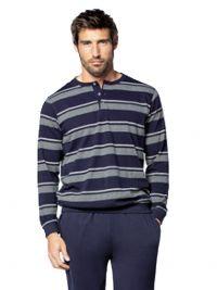 Pijama Guasch de Algodón con puños azul y gris