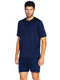 T.E. - Pijama Guasch de Algodón con topitos en azul marino
