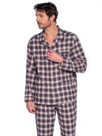 Pijama Guasch en Franela de Algodón a cuadros en gris