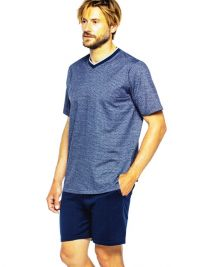 Pijama Guasch de Algodón corto en marino de punto