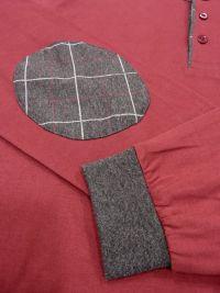 Pijama Guasch de Algodón con puños en burdeos