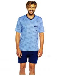 Pijama Guasch de Algodón corto con topitos azul
