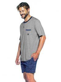 Pijama Guasch de Algodón corto en gris de punto (hasta 4XL)