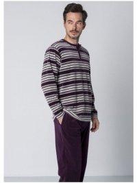 Pijama Guasch Terciopelo Rayas Morado