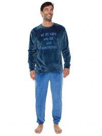 Pijama Muydemi en Coralina azul con puños