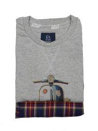 Pijama Kiff-kiff con moto combinado en gris y pantalón de villela