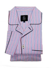 Pijama Kiff-kiff en tela a rayas rosa y gris