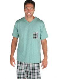 Pijama Pettrus Man turquesa jaspeado en pico