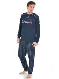 Pijama Privata en algodón azul marino con logo y puños