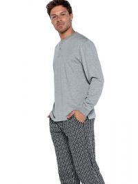 Pijama Punto Blanco Cubik de Algodón con puños