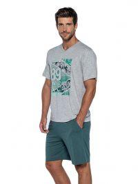 Pijama Punto Blanco mod. Palmers de Bambú en gris y verde