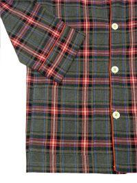 Pijama Kiff-kiff en villela de algodón a cuadros gris y rojo cereza