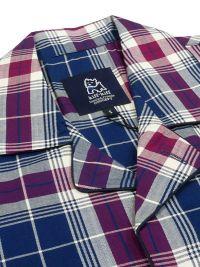 Pijama Kiff-kiff en villela de algodón a cuadros azul y burdeos