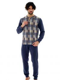 Pijama Vilfram de Afelpado azul a cuadros con puños