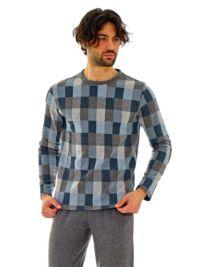 Pijama Vilfram Afelpado a cuadros gris y azul