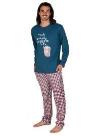 Pijama Pettrus Man afelpado y estampado con palomitas