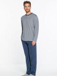 Pijama Punto Blanco Bionix Bambú Azul en manga larga