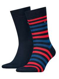 2 Pack Calcetines Tommy a multirayas azul y rojo